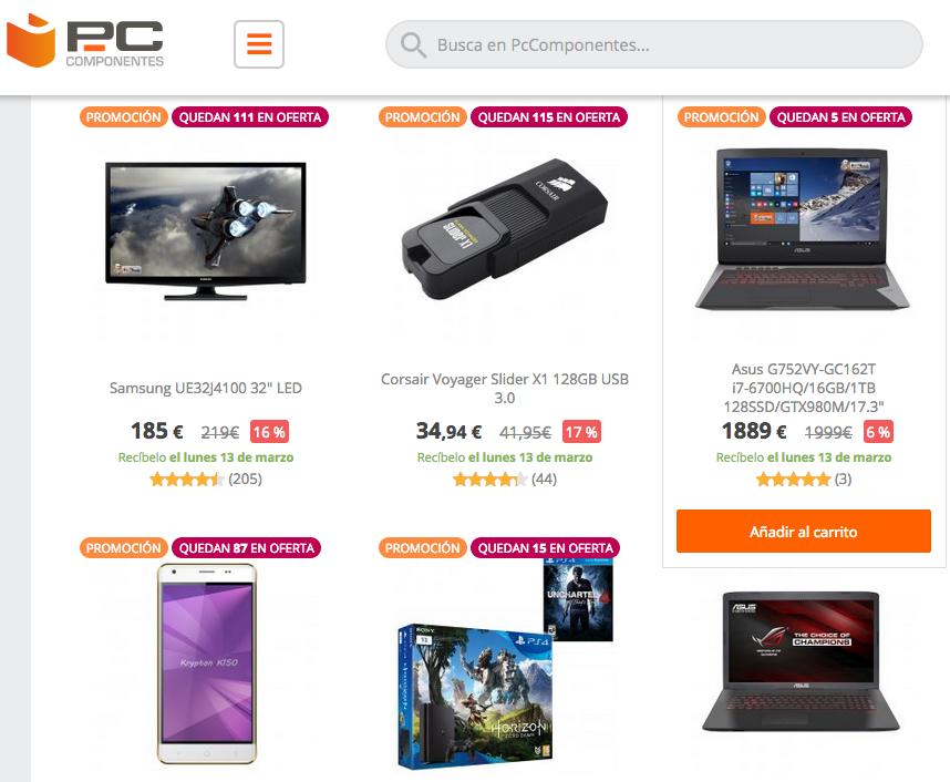 Ejemplo de la web de PC Componentes donde muestra las unidades que quedan a un determinado precio promocional. Imagen tomada el 10 de Marzo de 2017 de la web www.pccomponentes.com
