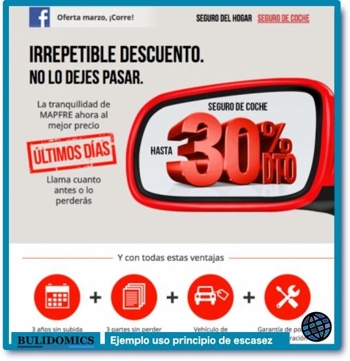 Ejemplo de anuncio usando el principio de escasez. Campaña de la compañía española de seguros Mapfre. Imagen tomada de la noticia http://infoluna.com/not/6004/los-talleres-de-lunas-madrilenos-tiemblan-ante-la-ofensiva-de-mapfre/, publicada el 27 de Marzo de 2017.