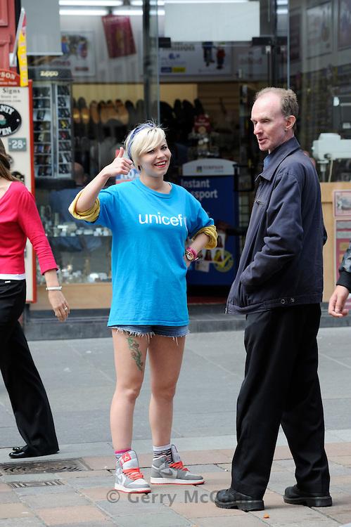 UNICEF girl street fundraiser