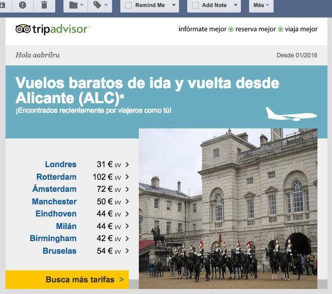 Email TripAdvisor con ofertas de vuelos (10FEB17)