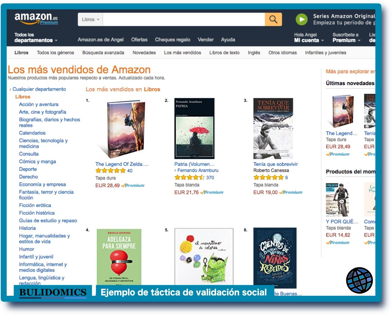 Pantallazo de la lista de libros más vendidos en Amazon. Este es un ejemplo del principio de validación social, con la táctica «lo que hace la mayoría». Captura realizada el 30 de marzo de 2017 en la web de amazon www.amazon.es
